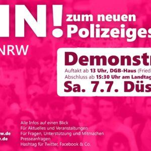 Für Freiheit und Grundrechte: Auf zur #NoPolGNRW-Demo am 7.7.2018