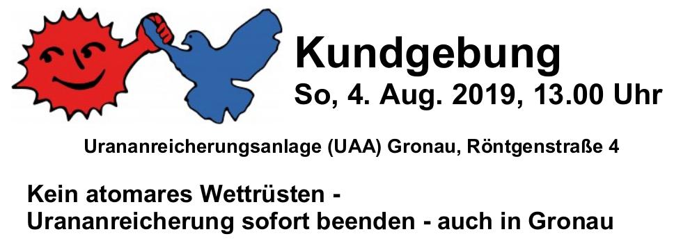 So. 04.08.2019 | Kundgebung gegen Wettrüsten und Urananreicherung in Gronau