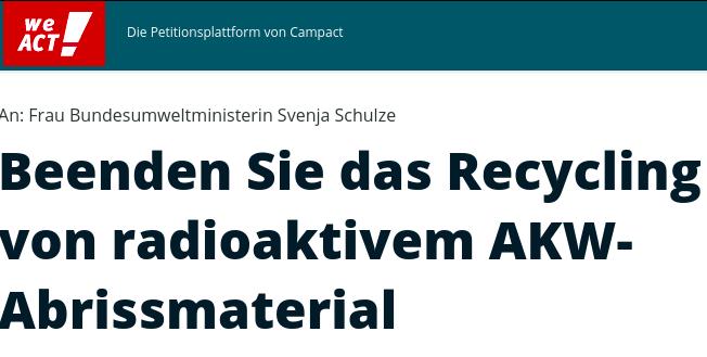 Petition gegen Freimessen radioaktiven Abfalls